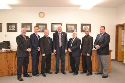 2015 Mayor and Council  (left to right) Councilmember Daniel Barr, Richard Krasnomowitz, John Burd, Mayor Paul Marino, Councilmember Russell Law, Ronald Garrett, Mark Sena